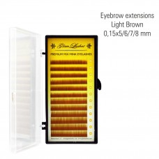 Eyebrow extens. light brown  0,15 x 5/6/7/8 mm