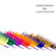 Colored eyelashes blue, J-Curl