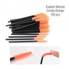 Silicone Eyelash Combs Orange 100 pcs.