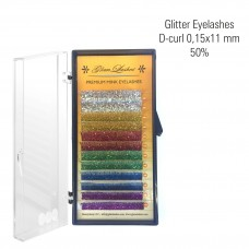 Glitter eyelashes 0,15 x 11mm, D-Curl 50%